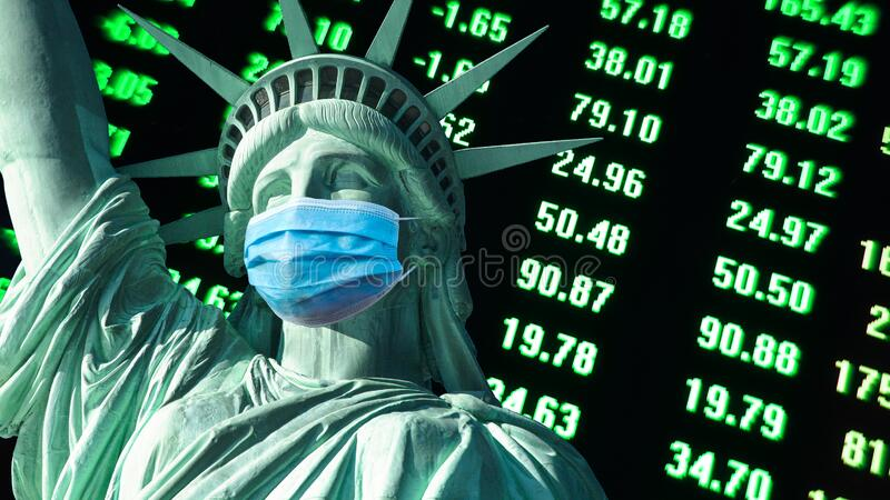 COVID-19 coronavirus in USA,affects  stock market  Statue of Liberty  with face mask royalty free stock photos