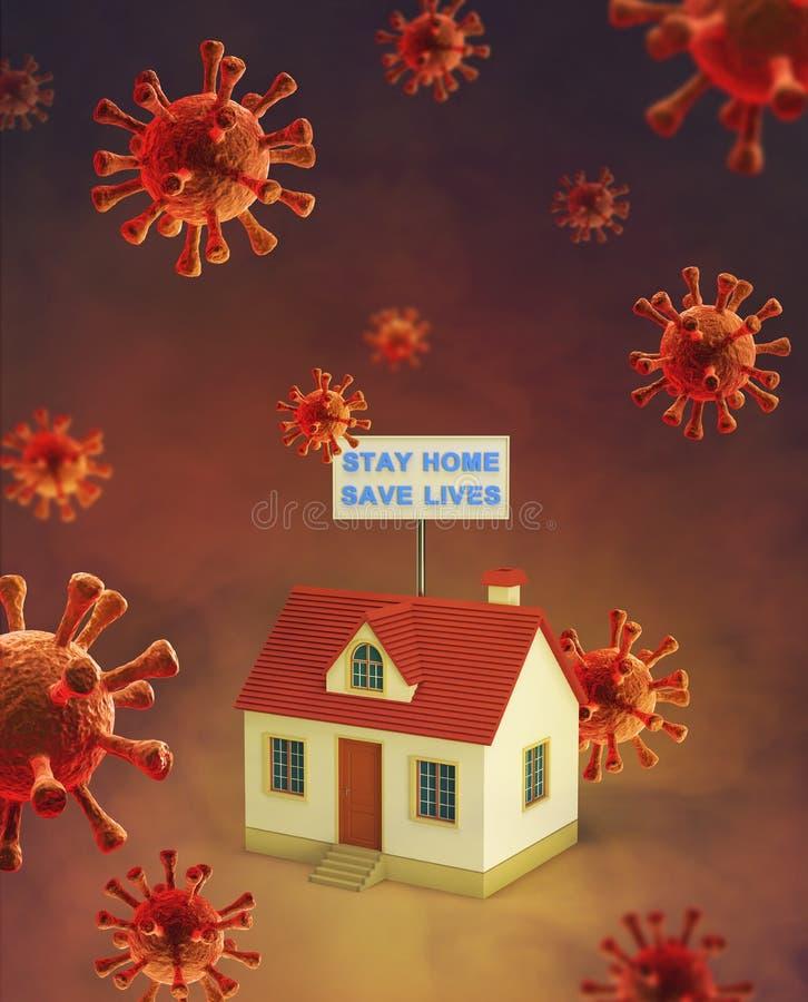 COVID-19 Coronavirus viral social media message sign for social distancing awareness stock image