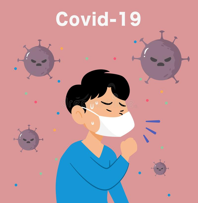 Concept of Coronavirus prevention.Covid-19.Vector flat illustration. Covid-19.A coughing patient with a mask to avoid infection, with coronavirus on pink stock illustration