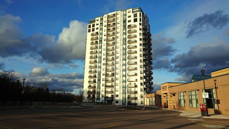 Covid- 19: Empty Parking and quiet residential buildingGuelph Ontario  Canada corona lock down stock photos