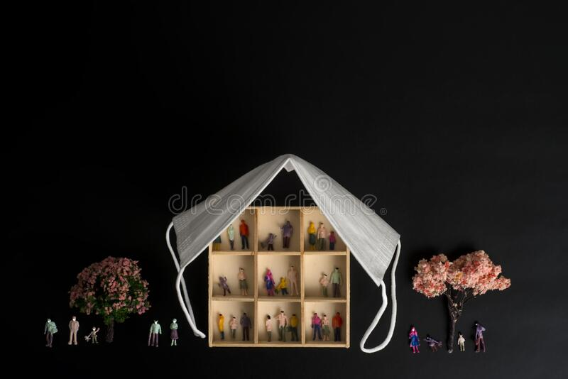 Covid-19 epidemic, people with masks, new normality, concept royalty free stock photo