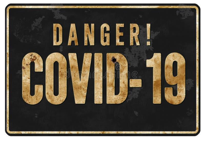 COVID 19 Grunge Sign. COVID 19 Grunge Tin Warning Stripes rustic rusted old vintage business bio-hazard metal black stock illustration