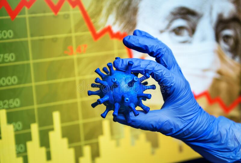 COVID-19 impacts to business, graph of stock market crash during coronavirus pandemic, world economy hits by novel corona virus. Concept of global financial royalty free stock photo