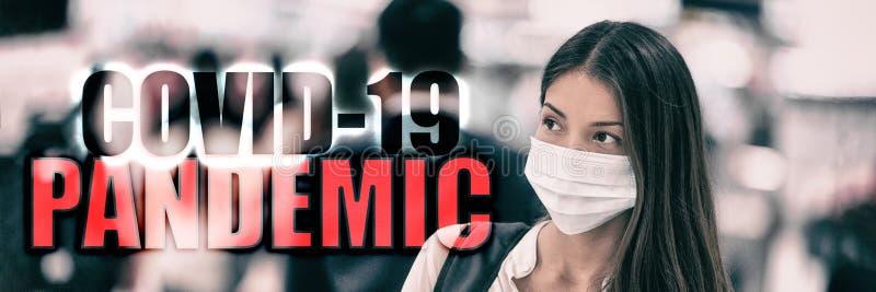 COVID-19 PANDEMIC coronavirus - tekst na transparencie turystów podróżujących Nagłówek 2019: nowatorski wirus korony z obrazy stock
