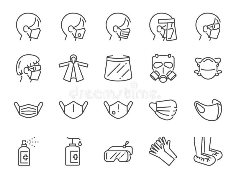 Covid-19 protection equipments line icon set. Included icons as face mask, 3d mask, face shield, alcohol gel, ppe suite a. Vector and illustration: Covid-19
