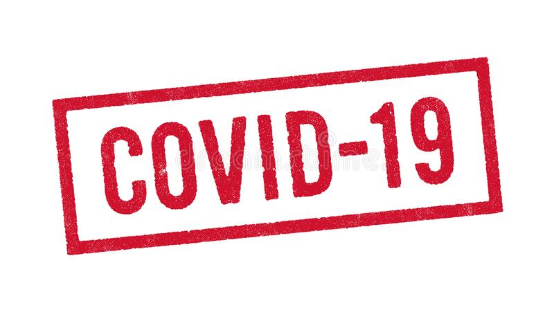 Covid-19 red ink stamp. Vector illustration of the word Covid-19 abbreviation of Coronavirus disease 2019 in red ink stamp