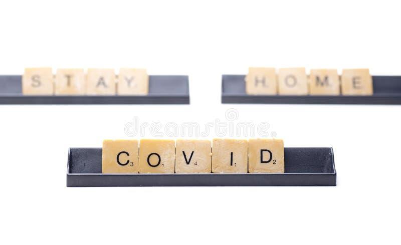 Covid's verblijf thuis royalty-vrije stock fotografie