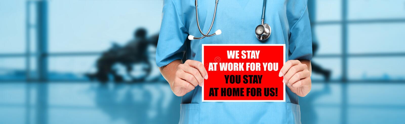 COVID-19 Soziale Distanzierung zitieren Krankenschwester und Krankenschwester, die den Aufenthalt zu Hause fördern, um den Arbeit lizenzfreies stockfoto