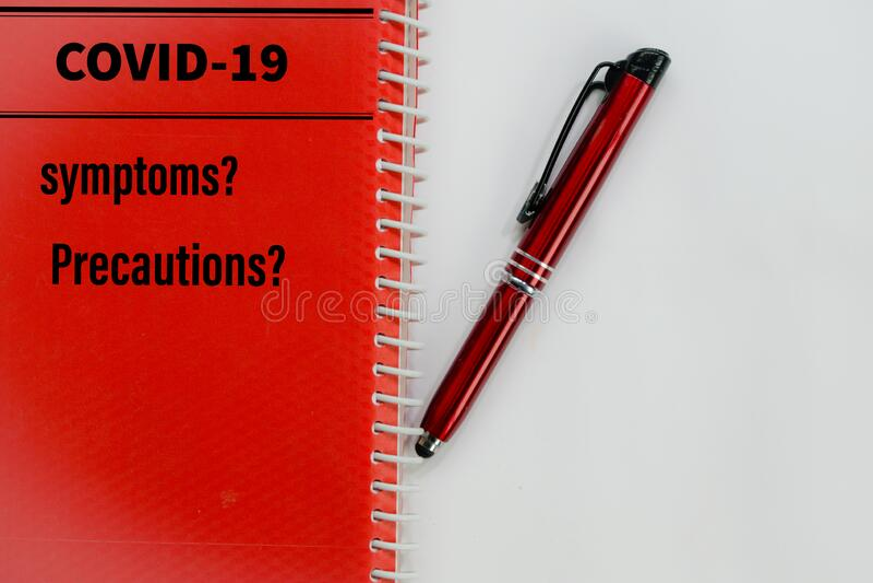 Covid-19 symptoms precaution photo concept. Copyspace for writing. Covid-19 symptoms precaution photo concept. Copyspace for writting royalty free stock image