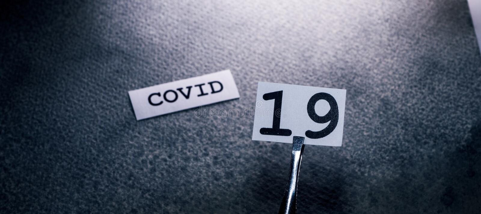 COVID-19 text tag royalty free stock photography