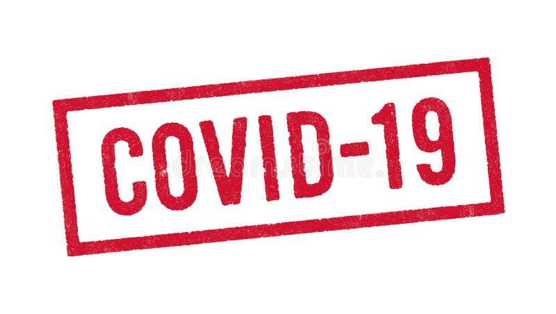 Covid-19 timbro rosso inchiostro illustrazione vettoriale