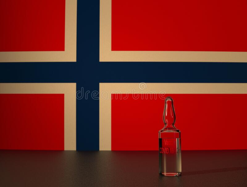 COVID 19 vaccine and Norway flag. COVID 19 virus vaccine against the backdrop of the Norway flag. Close-up royalty free stock images