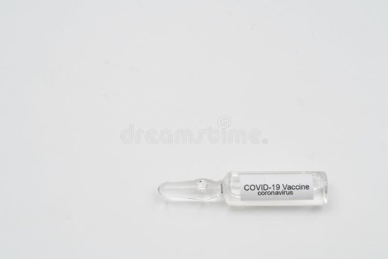 COVID 19 Vacina e seringa para injetáveis de Coronavírus Utilizar para a prevenção, imunização e tratamento a partir da COVID- 19 imagens de stock royalty free