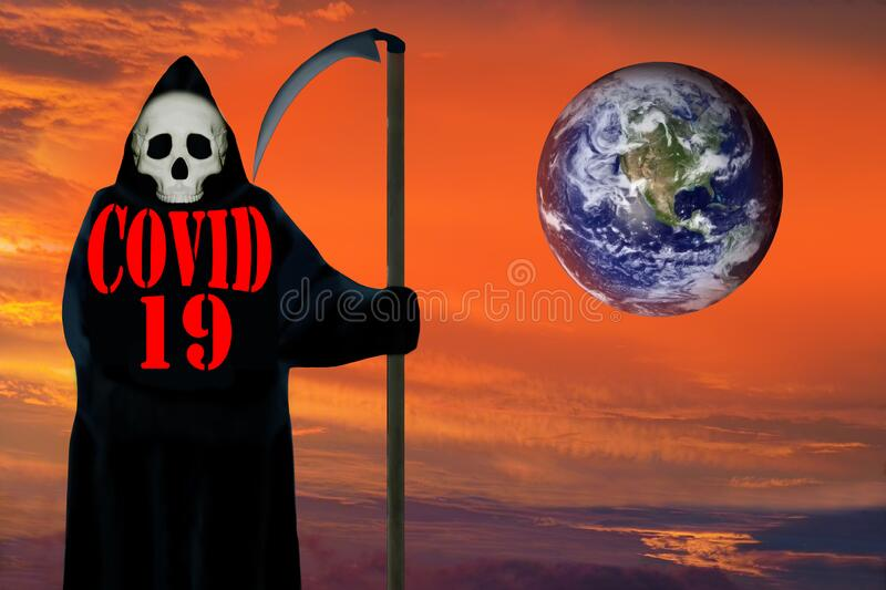 COVID-19, ghost of death, dramatic Earth planet. royalty free stock photos