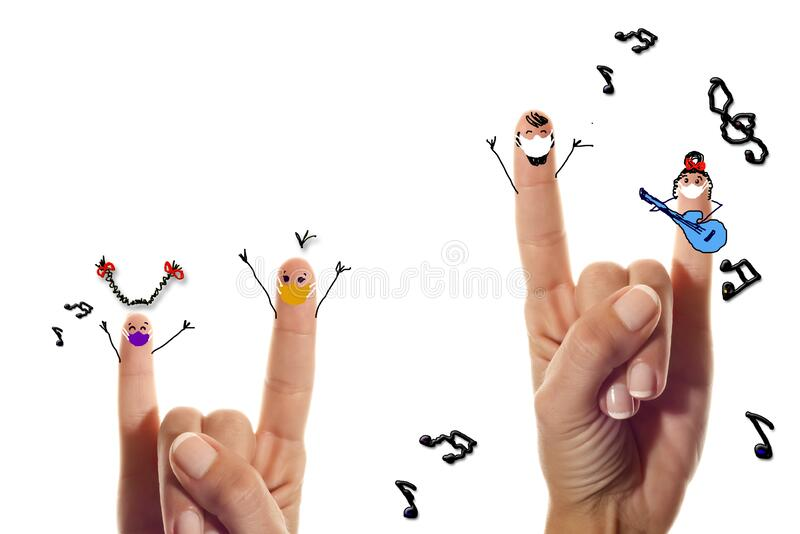 Covid-19, youth, rock symbol, young people, coronavirus protection concept stock photography