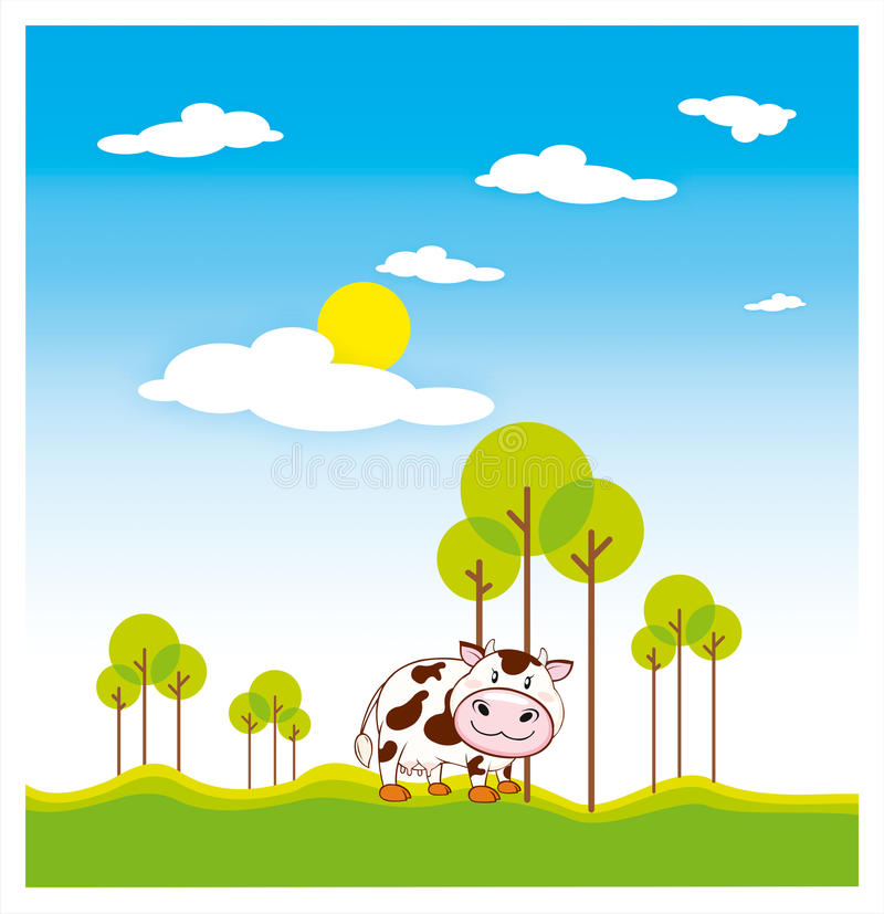 Download Cow stock vector. Image of isolate, grass, spots, tail - 12651475