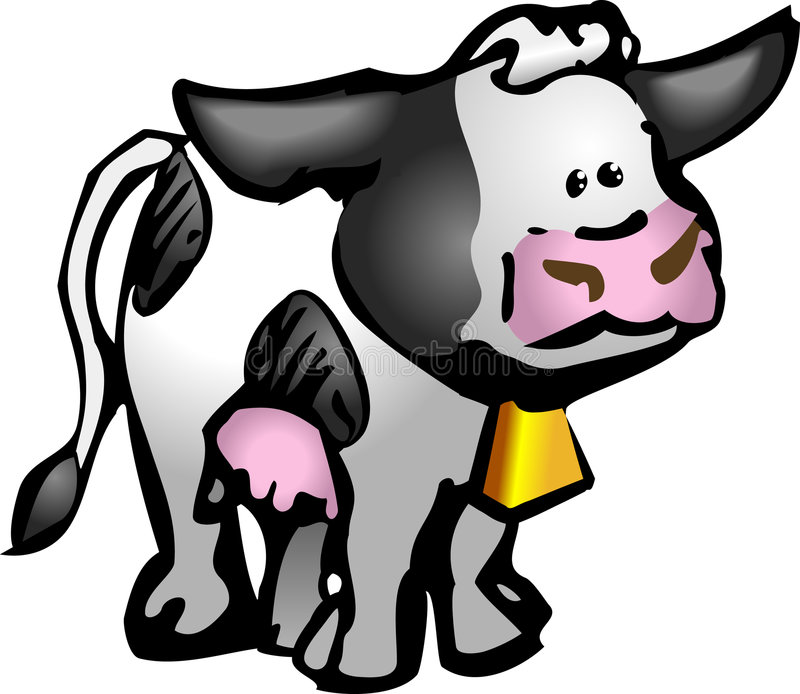 Cow. A cute moo cow in a rough and ready style! No meshes used, all blends or gradients vector illustration