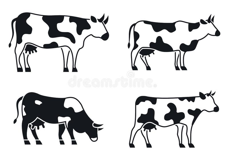 Cow animal icons set, simple style. Cow animal icons set. Simple set of cow animal vector icons for web design on white background stock illustration