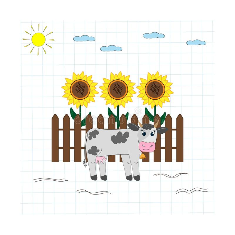 Cow-on-the-background-of-the-fence ilustracji
