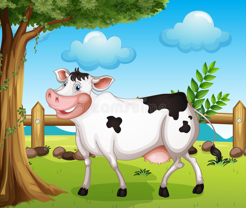 A cow in the backyard. Illustration of a cow in the backyard stock illustration