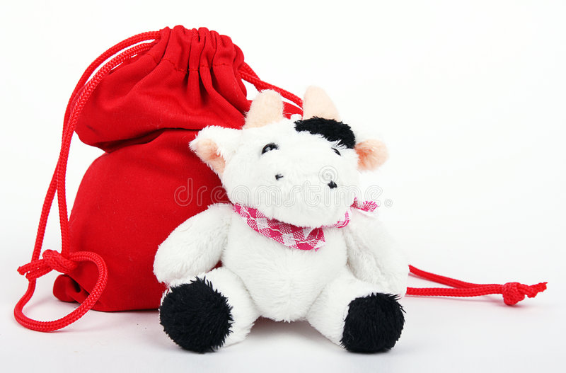 Download Cow And Bag With Gifts stock photo. Image of claus, december - 7211040