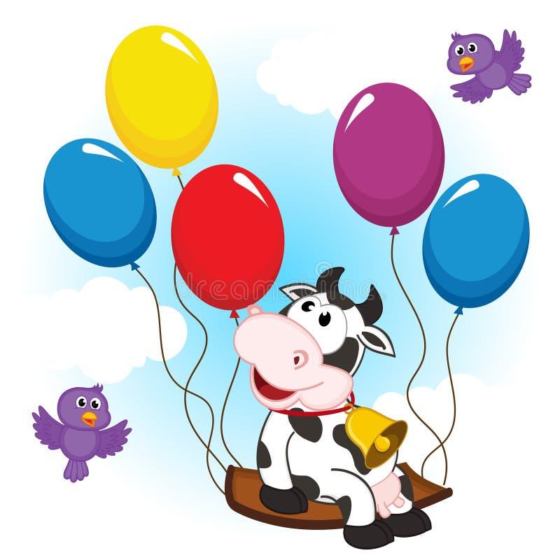 Cow on balloon vector illustration