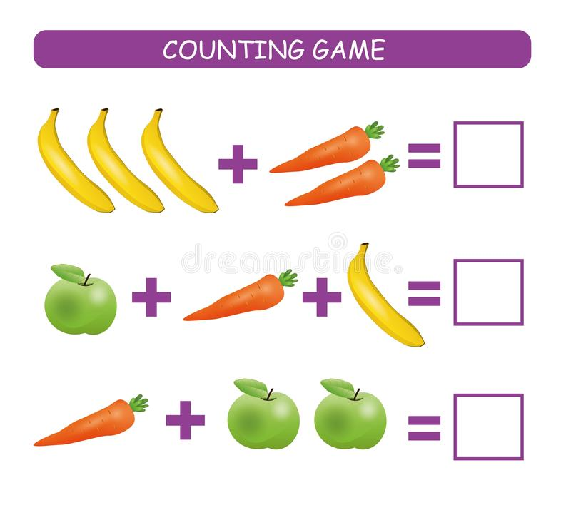 Counting game for preschool children. Educational a mathematical game. Сount how many fruits and vegetables in each row and write. The result. Vector stock illustration