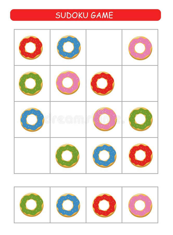 Sudoku for kids.  Kids activity sheet. Training logic, educational game. Sudoku game with colorful donuts. stock illustration