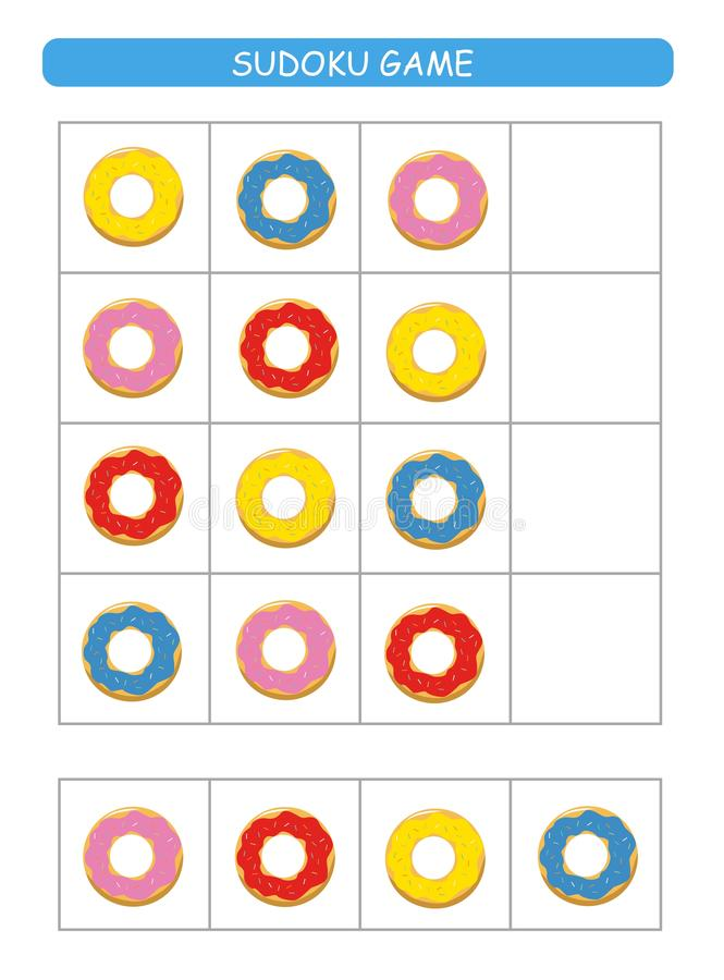 Sudoku for kids.  Kids activity sheet. Training logic, educational game. Sudoku game with colorful donuts. Vector vector illustration
