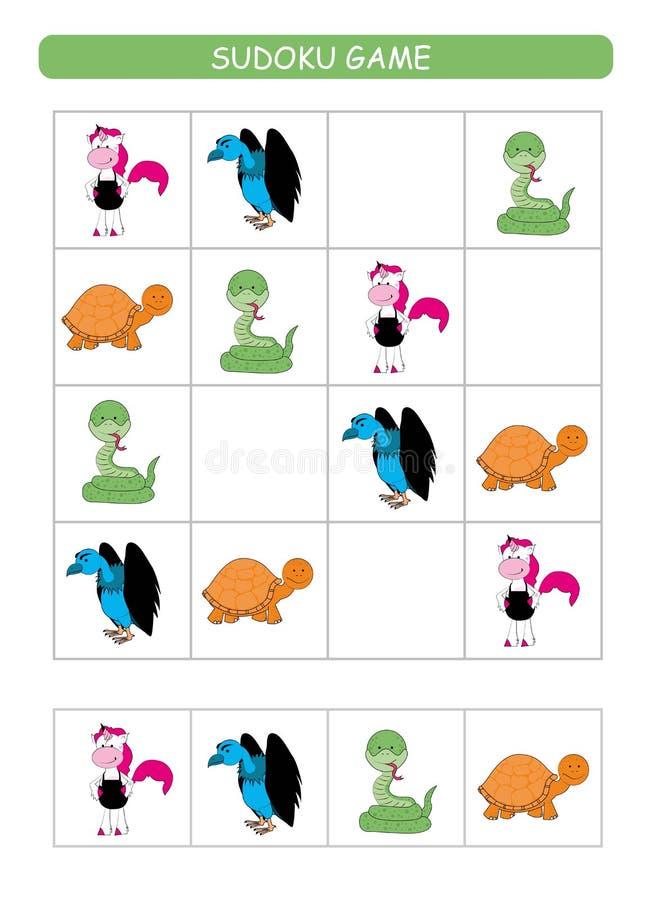 Sudoku for kids. Kids activity sheet. Training logic, educational game. Sudoku game with animals. vector illustration