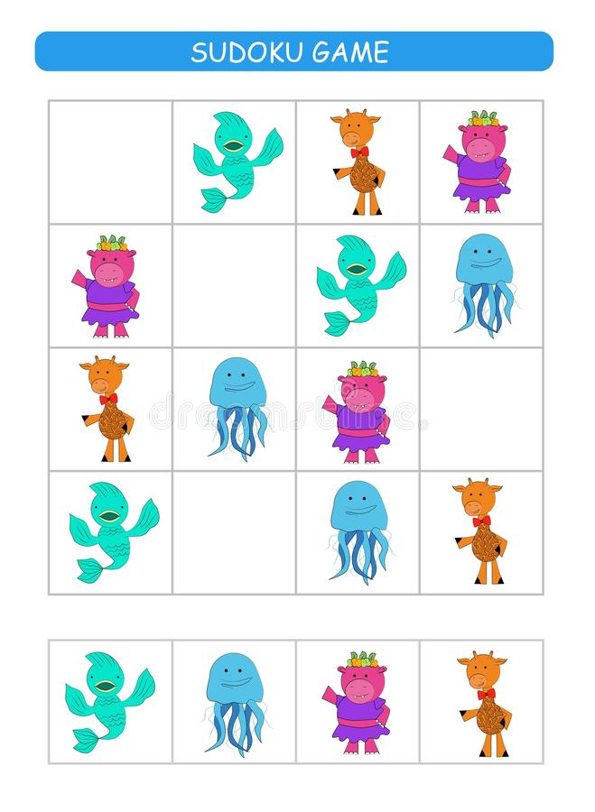 Sudoku for kids. Kids activity sheet. Training logic, educational game. Sudoku game with animals. royalty free illustration