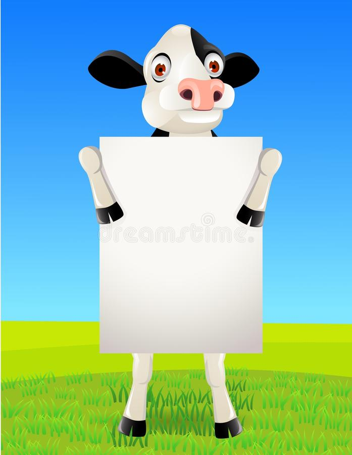Cow and blank sign
