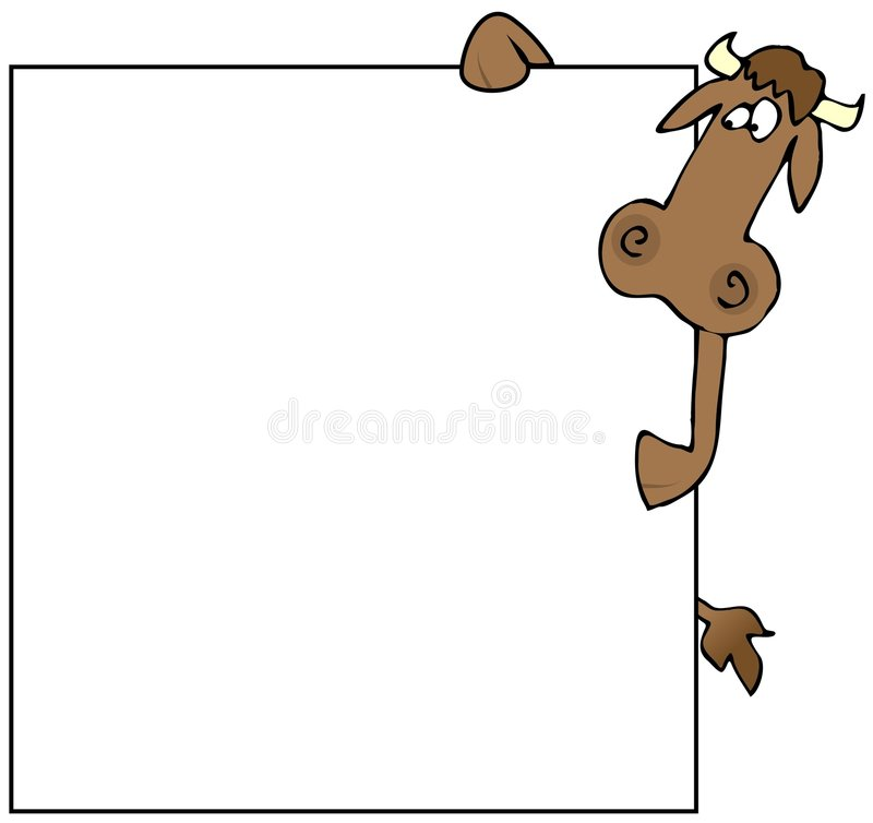 Cow With A Blank Sign. This illustration depicts a cow holding a large blank sign stock illustration