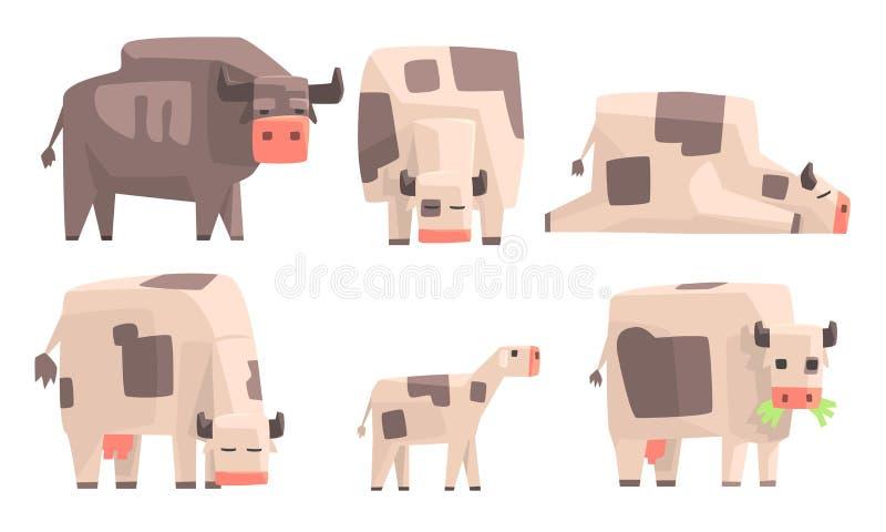 Cow, Bull and Calf Set, Geometric Farm Animals Vector Illustration vector illustration