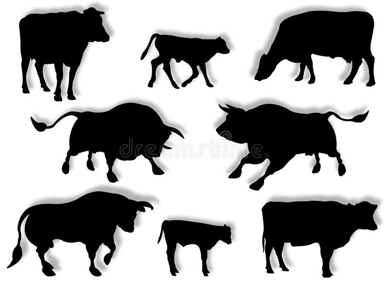 Cow, bull, and calf in silhouette. Cattle in silhouette to represent farm animals stock illustration