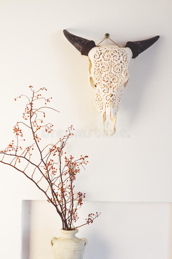Cow bull head and dried berry flowers home decor on white wall. Background stock photo