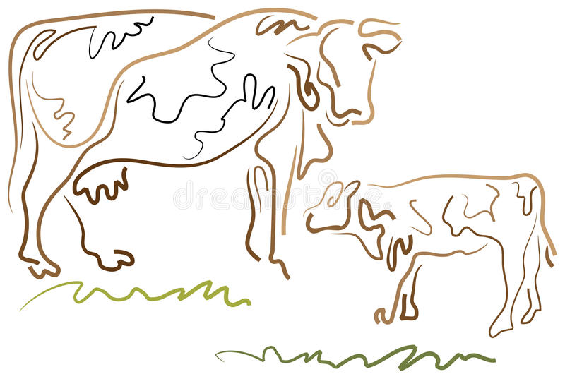 Cow and calf royalty free illustration