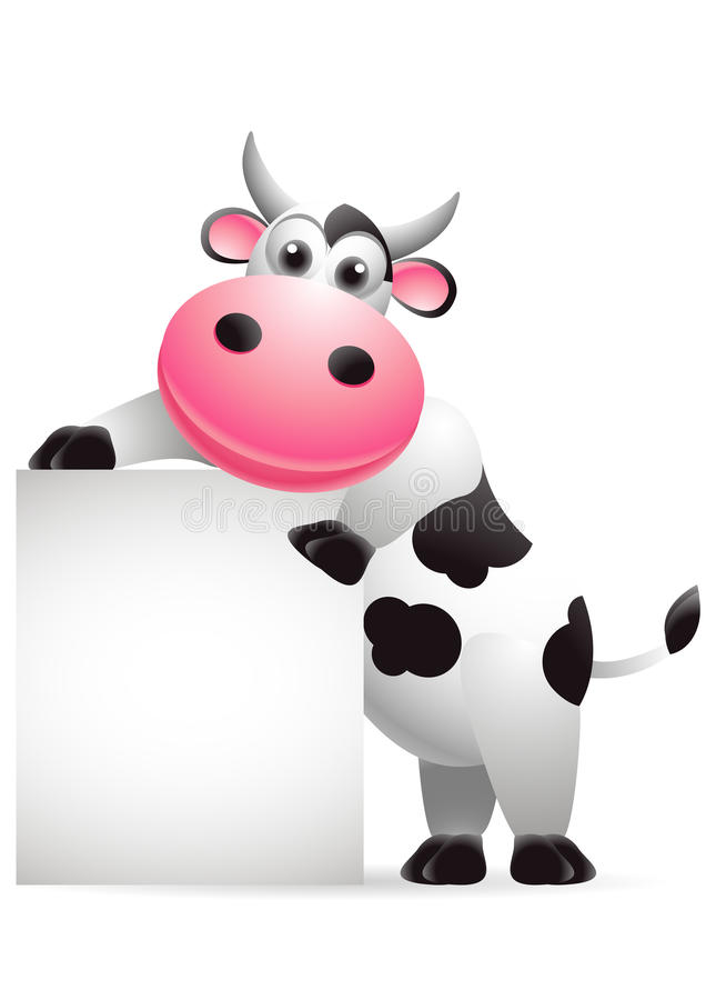 Cow cartoon with blank sign vector illustration