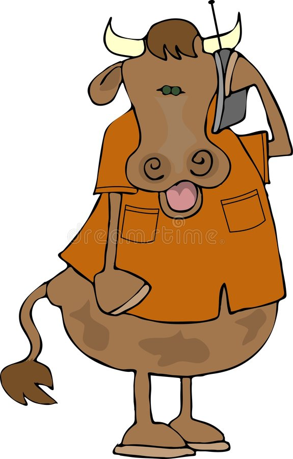 Cow on a cell phone vector illustration