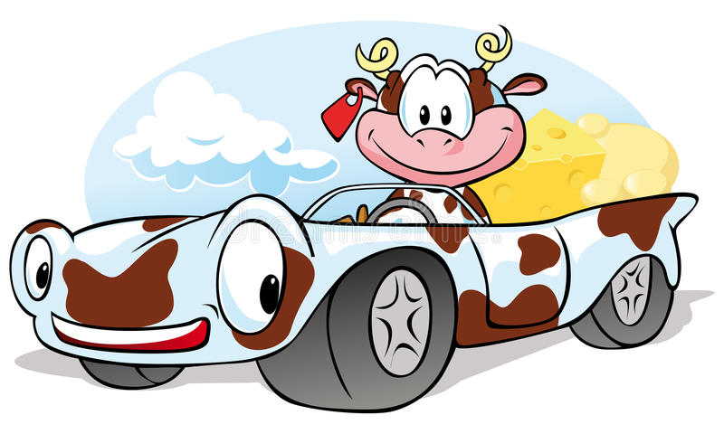 Cow with cheese go by car. Cow cartoon with cheese go by car vector illustration