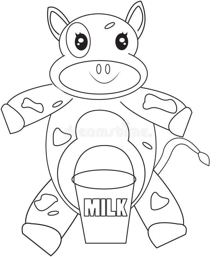 Cow coloring page vector illustration