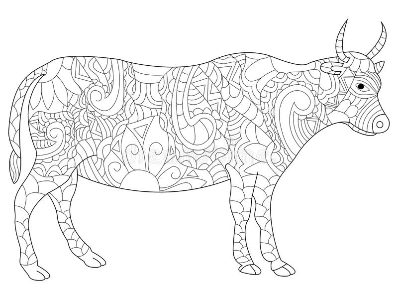 Cow coloring vector for adults. Cow anti-stress coloring book for adults. Black and white hand drawn vector. doodle print with ethnic patterns. Zen tangle style stock illustration