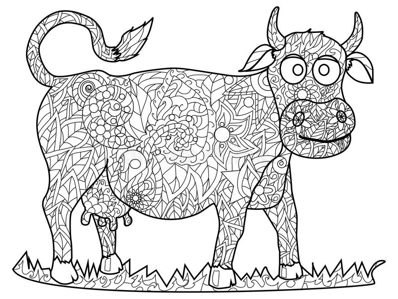 Cow Coloring Vector For Adults Stock Vector - Illustration of ...