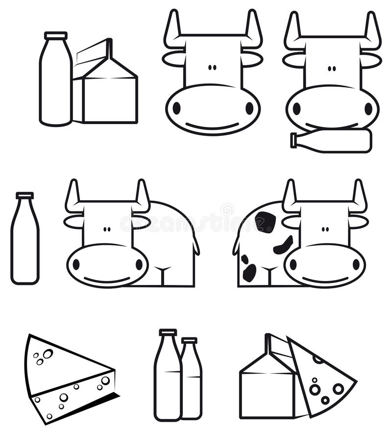Cow and dairy food royalty free illustration