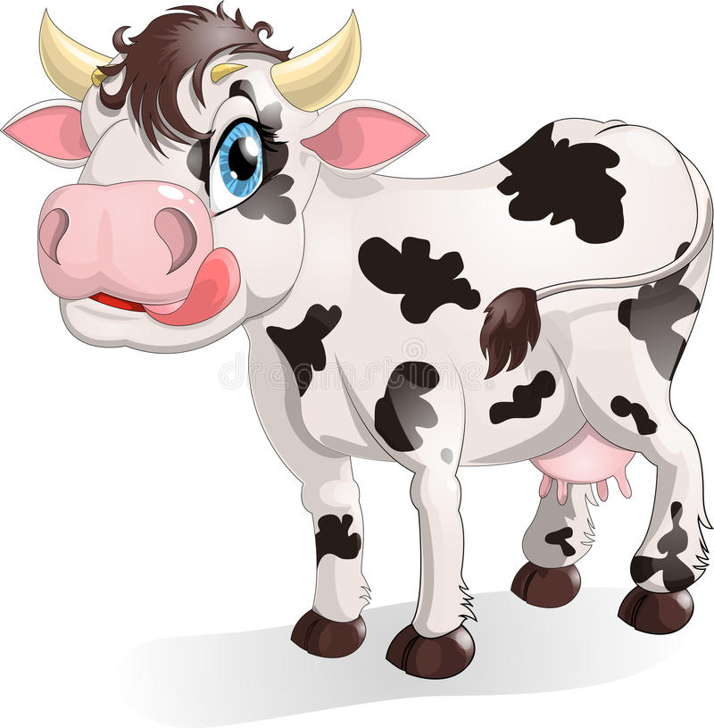 Cow. Drawn on a white background stock illustration