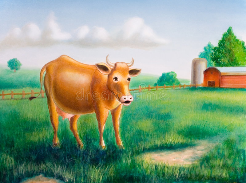 Cow and farm. A cow in a sunny farm landscape. Hand painted illustration royalty free illustration