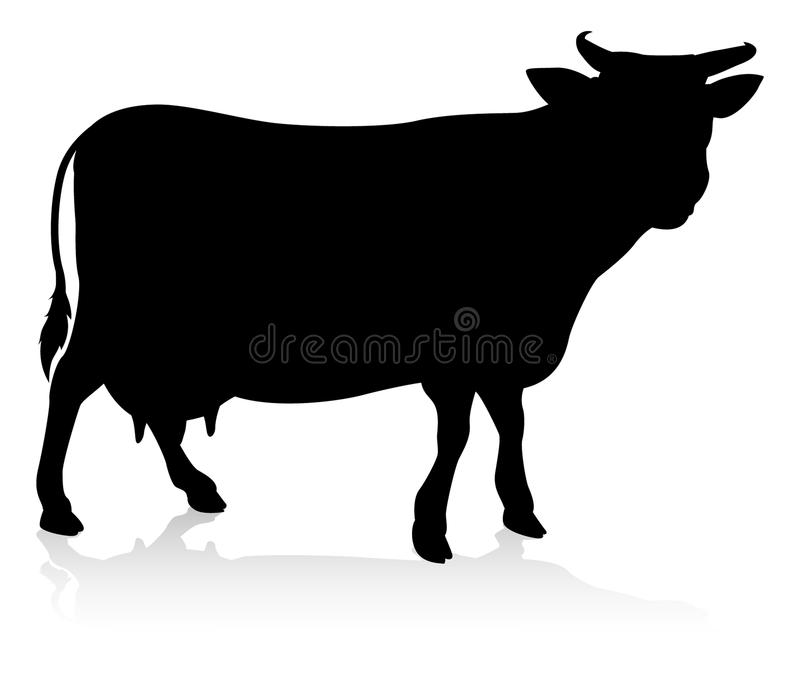 Cow Farm Animal Silhouette royalty free illustration