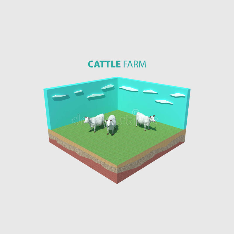 Download Cow Farm Isometric Design Stock Illustration Of Elements