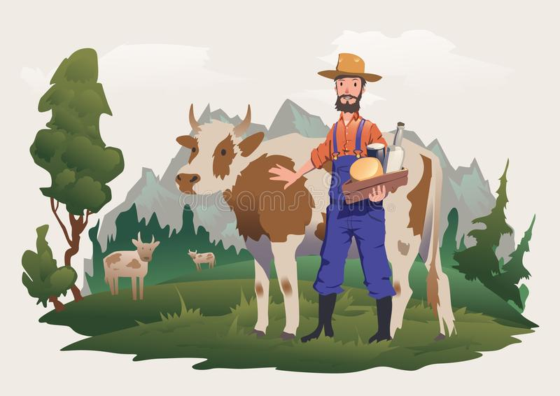 A cow and farmer in a meadow, Alpine landscape. Vector illustration for packaging of milk or dairy products. stock illustration