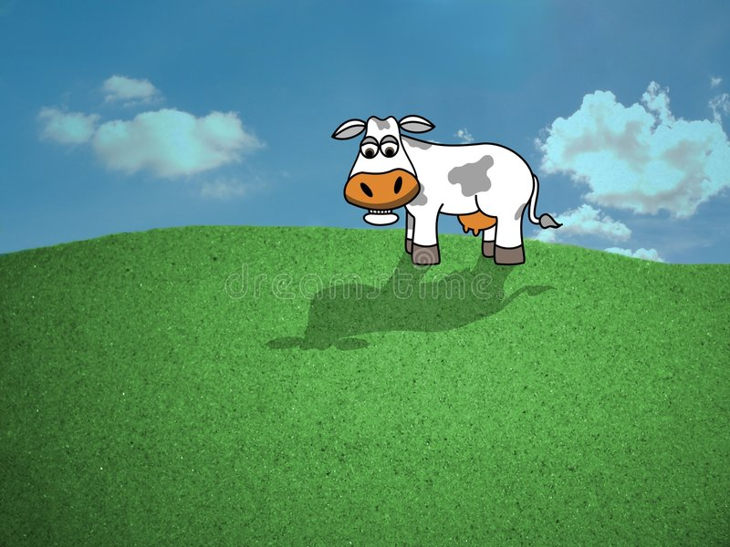 Cow in field stock illustration